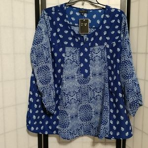 New Blue Paisley Jonathan Martin Top sz M
